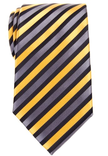 Retreez Retro Three-Color Striped Woven Microfiber Men's Tie - Yellow, Black, Grey by Retreez