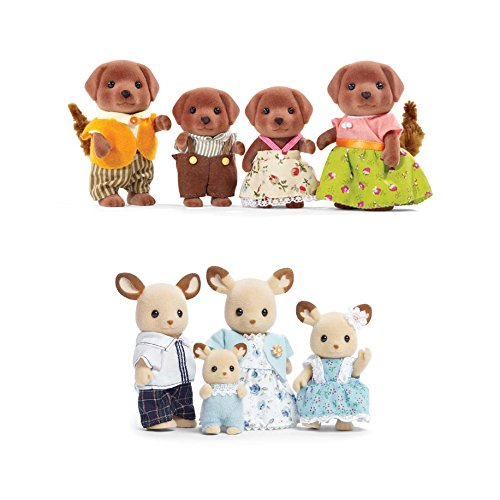 Calico Critters Familiy Set Featuring Buckley Deer Family & Chocolate Labrador Family- 2 Items Bundled by Maven Gifts
