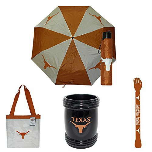 University of Texas (UT) Longhorn Fan Gift Box Products (Girl) - Clear See-Thru Purse, Umbrella, Magna Coolie & Backscratcher BUNDLED! by Game Day Outfitters
