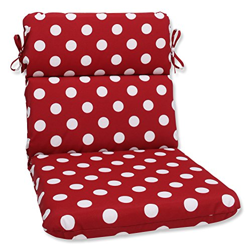 (Pillow Perfect Indoor/Outdoor Red/White Polka Dot Chair Cushion, Rounded)