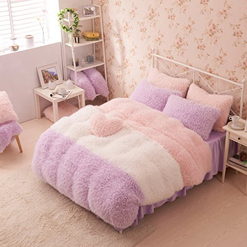 Purple White And Pink Duvet Cover Set Princess Bedding