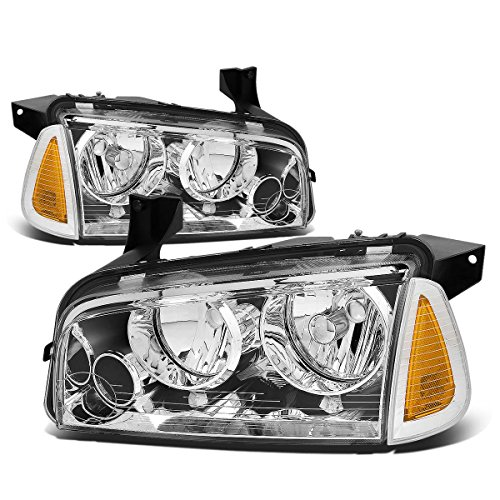 (For Dodge Charger LX 4pcs Chrome Housing Clear Lens Headlight+Amber Corner Signal)