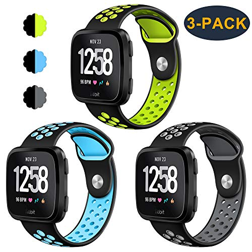 CAVN 3-Pack Compatible Fitbit Versa Bands for Men Women, Sweat Resistant Replacement Accessory Strap Bracelet Compatible Fitbit Versa Smartwtach (L/6.8-8.9, Black/Green+Black/Blue+Black/Grey)