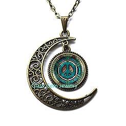 Moon Necklace Moon Pendant Hippie neckla...