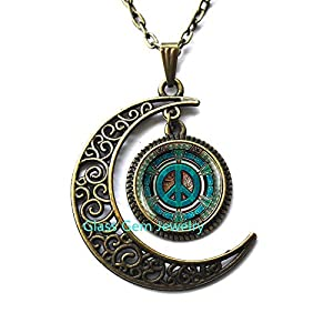 Best Epic Trends 51PY778voTL._SS300_ MoonNecklaceMoonPendant,Hippie Necklace, Hippie Pendant, Hippie Jewelry, Peace Sign Necklace, Peace Jewelry, Peace Pendant, Men's Necklace, Hippie Men's Jewelry