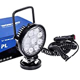 WOWLED Magnetic Base LED Light Bar, Flood Light Beam Work Lamp Offroad Driving Fog Light for Car Truck Trailer Tractor Travel Boat 4X4 Engineering Maintenance Camping Magnet Spot Light 27W Round