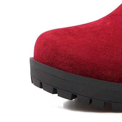 Blockabsatz Anziehen Rot Material runde Mix zum geschlossene Zehenstiefel Frauen Halbhohe AgooLar qZfvgx