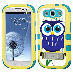 One Tough Shield ® Hybrid 3-Layer Kick-Stand Case (Yellow/Teal) for Samsung Galaxy S-III S3 - (Blue Owl)