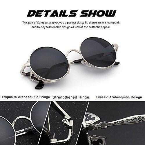 polarizadas Steampunk inspirado círculo CGID retro A para redondo E71 gafas metálico Gris hombres sol Plateado estilo de PAwqRBfU