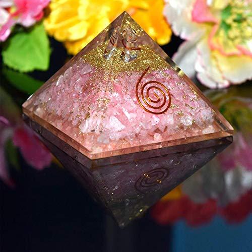Natürlicher Kristall Rosenquarz Orgon Pyramide für EMF Schutz Chakra Heilmeditation Orgonit Pyramiden