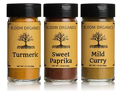 Bloom Organics - 3 Pack Turmeric, Paprika, Curry, USDA Certified Organic from Bloom Organics