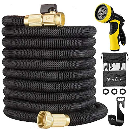 (lifecolor 50ft Expandable Hose, Garden Hose 9 Functions Sprayer Nozzle, Strongest Expanding Water Hose Double Latex Core with Solid Brass Connector Extra Strength Fabric)