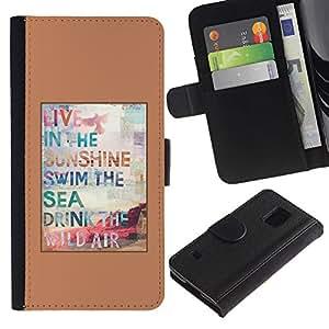 Paccase / Billetera de Cuero Caso del tirón Titular de la tarjeta Carcasa Funda para - Surf Sun Summer Poster Brown Sunshine - Samsung Galaxy S5 V SM-G900