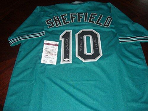 Jersey Sheffield Gary Autographed (Gary Sheffield Autographed Jersey - 97 Ws Champs 509 Hrs coa - JSA Certified - Autographed MLB Jerseys)