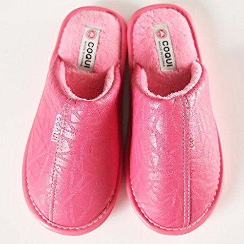 Home habuji impermeabile non-slip caldo cotone pantofole maschio di grandi dimensioni di base femmina invernali pantofole, 35/36, rose red