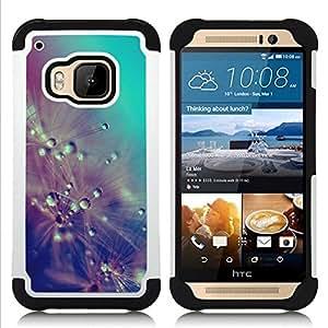"""Pulsar ( Gotas de lluvia Flores del trullo en colores pastel"""" ) HTC One M9 /M9s / One Hima híbrida Heavy Duty Impact pesado deber de protección a los choques caso Carcasa de parachoques [Ne"""