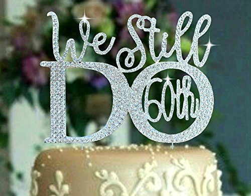 60th Anniversary cake topper in gorgeous silver crystal rhinestones