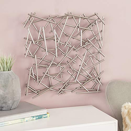 CosmoLiving by Cosmopolitan 56924 Large Square Contemporary Silver Abstract Art Metal Wall Decor | 20