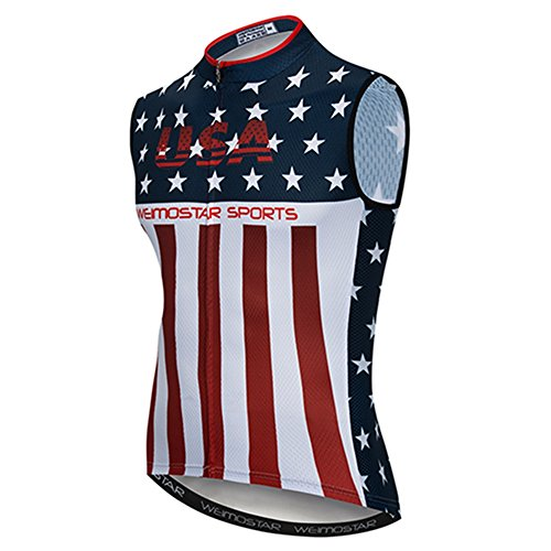 Weimostar Sleeveless Cycling Jersey Men Bike Shirts Vest Bicycle Clothing MTB Biking Jacket Tight USA Flag Blue Red Size XXL