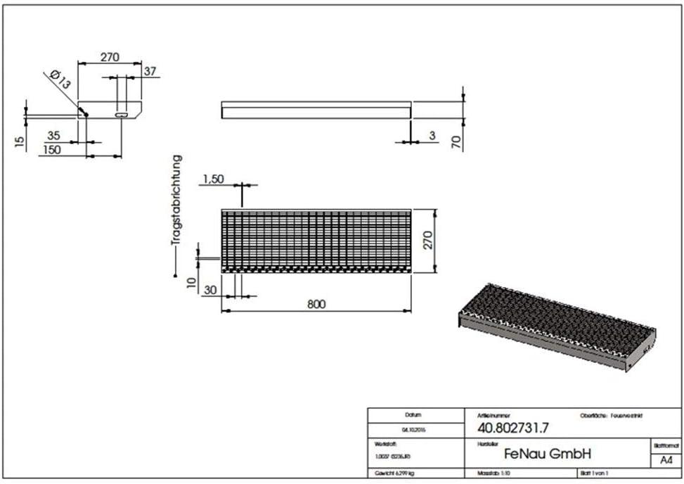 XSL Escal/ón de acero seg/ún norma DIN Escal/ón de rejilla Fenau Antideslizante Dimensiones: 600 x 240 mm R11 galvanizado en caliente MW: 30 mm // 10 mm