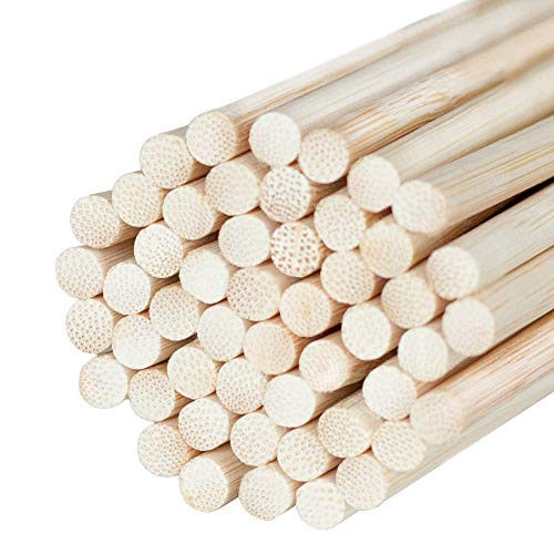 (Natural Bamboo Dowel Craft Sticks for Photo Booth Props - Bamboo Rods Sticks for Crafts & Photo Booth Props 12 x 1/4 Inch Wooden Dowels (50)