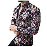 Shirt for Men, F_Gotal Men's T-Shirts Fashion Summer Printed Floral Long Sleeve Slim Fit Sport Tees Blouse Tops Black