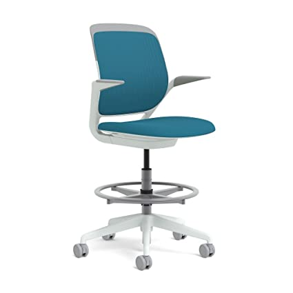 Steelcase White Base With Standard Carpet Casters Cobi Stool, Blue Jay