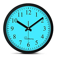 Time Roaming 10 Modern Decor Silent Metal Wall Clock Digital Style, Arabic Digital(Blue)