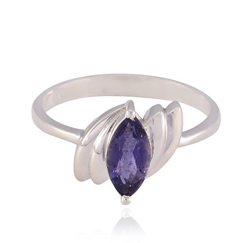 nuovo di zecca 9992b cf124 buone pietre preziose marquise anelli sfaccettati iolite ...