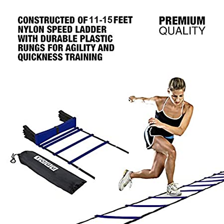 YOGU Agility Ladder Set Training Speed Ladder Footwork Equipment for Sports Soccer Football Exercise Fitness Workouts Drills 8 or 12 Adjustable Rungs Ladder with Carry Bag