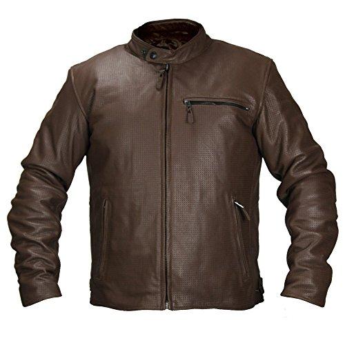 Fieldsheer Deuce Perforated Mens Leather Street Racing Motorcycle Jacket 52 Brown