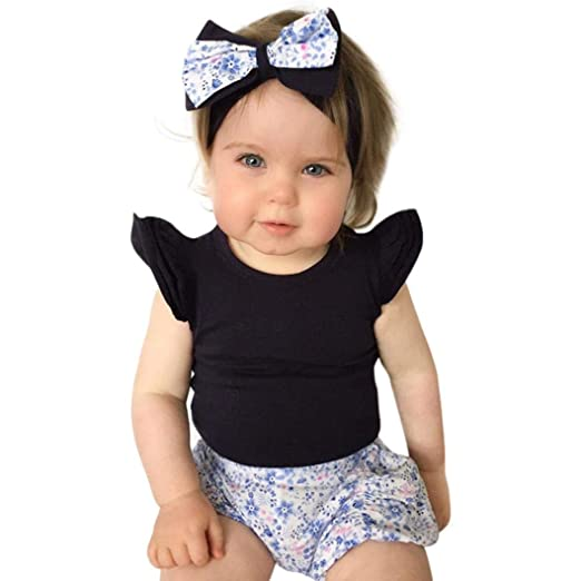 3c79ac63a992 Infant Baby Girls Ruffles Sleeve Solid Romper Playsuit Outfits Clothes (6M