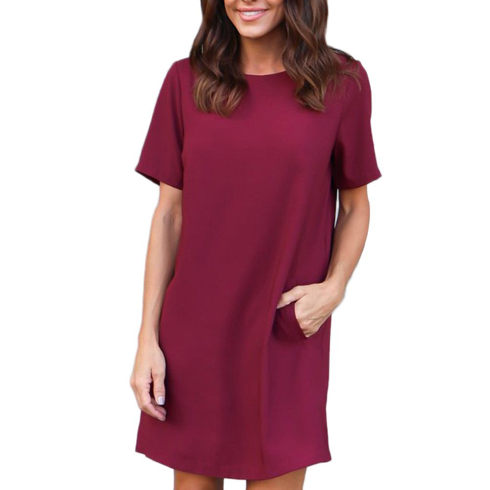 Women Dress Short Sleeve Casual Solid Color Loose Midi Dress with Pocket Knee Length (S, Wine Red)