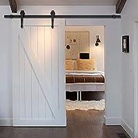 Goplus 6 FT Antique Style Wood Sliding Barn Door Hardware Closet Set (Black)