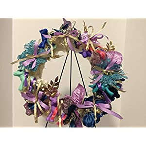 """15"""" LITTLE UNICORNS & PONIES WREATH WITH POINSETTIAS, CARNATIONS AND LEAVES - BLUE, GREEN, PURPLE, GOLD COLORS - HOLIDAY - CHRISTMAS - UNIQUE GIFT- ONE OF A KIND - UNUSUAL - UNIQUE 66"""