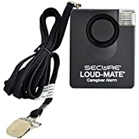 Secure Loud-Mate 120 dB Pull Cord Fall Alarm - Caregiver Patient Monitor Falls Prevention Aid - Wheelchair, Chair, Bed Use - Batteries Included