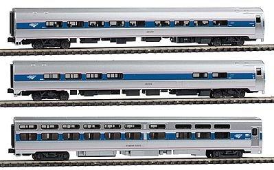 Amtrak 3 Car (INTERCITY EXPRESS 3-CAR SET - READY TO RUN -- AMTRAK (PHASE IVB; SILVER, BLUE, RED PINSTRIPES; 2000S LOGO))