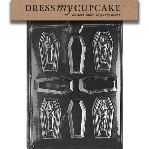 Dress My Cupcake DMCH038 Chocolate Candy Mold, Casket with Mummy, Halloween