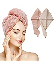 Drying Hair Towel Wrap, Microfiber Fast Dry Hair Towels Turban with Button 2pieces Soft Super Absorbent Bath Shower Hair Cap