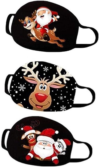 Natale 5 Pezzi Mascherine Riutilizzabili Antipolvere Antivento Stampa Mascherina Tessuto Regolabile Visiera Bocca Faccia Unisex Scuola Allaperto