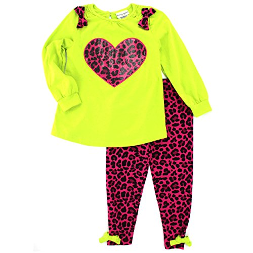 Buster Brown Girls 2 pc Outfit Top Leggings Set (6, Lime/Pink Cheetah (Scotty Dog Mix)