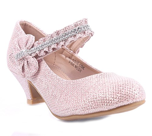 Girls Glitter Blink Bowknot Rhinestone Sparkling Kitten Heels Youth Party Dress Shoes (1, Pink) - Pink Dress Shoes 1 Girls