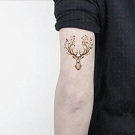 Oottati Tatuajes Temporales Pájaro Flor Ciervo Los Alces (2 hojas ...