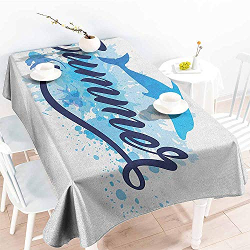 EwaskyOnline Small Rectangular Tablecloth,Dolphin Abstract Summer Lettering with Fish and Dolphin with Color Splashes Image,Modern Minimalist,W60X102L, Dark Blue Pale Blue