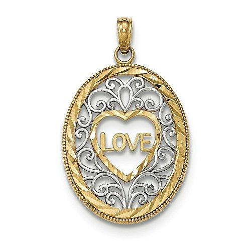 14 carats-Bicolore-Love Intérieur poli avec pendentif ovale filigrané-JewelryWeb