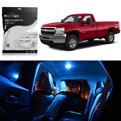Partsam LED Interior Package Light Kits + License Plate Light Replacement for 2011 2012 2013 2007-2010 Chevy Silverado (12 Pieces/Ice Blue)