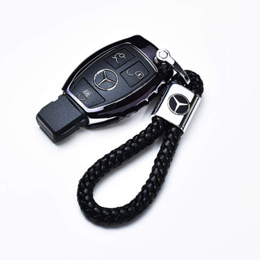 VILLSION Genuine Leather Car Logo Keyring Mercedes Benz Keychain Accessories Key Chain with Zinc Alloy