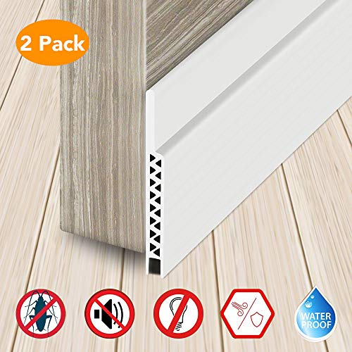 (CocoKool Door Draft Stopper, Dustproof Weather Stripping, Rubber Draft Stopper for Soundproof, Kick Off Bug Mosquitoes Door Bottom Seal, Durable Door Weather Strip with Adhesion Promoter, 2Pcs (White) )