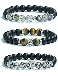 Buddha, Dragon, Lion Bracelet Stack | Matte Black and...
