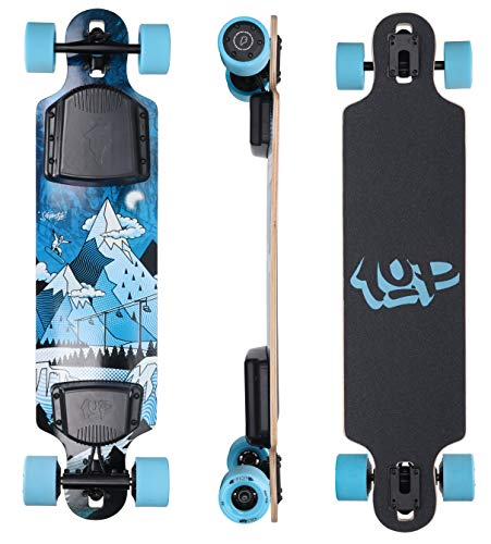 Ride1UP Electric Longboard: Electric Skateboard with Remote for Adults, 7.5AH 10S3P Samsung Battery, Custom Battery Case, 4-Speed Ergonomic Remote, Motorized Board for Carving (38